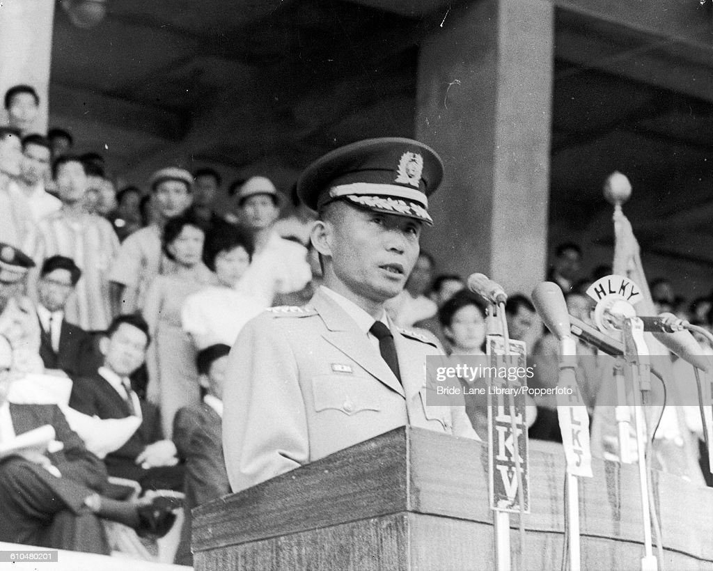 South Korean President Park Chung-hee (1917 - 1979) addresses a crowd of about 10,000 in the municipal stadium in Seoul, to mark the 18th anniversary of the liberation of Korea from Japanese rule, 15th August 1963.