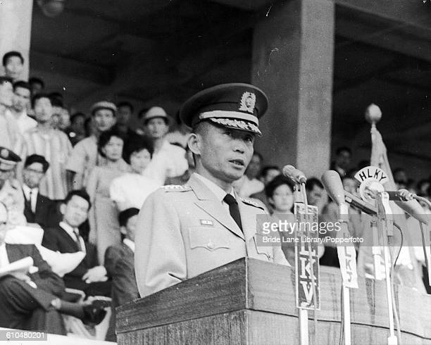South Korean President Park Chunghee addresses a crowd of about 10000 in the municipal stadium in Seoul to mark the 18th anniversary of the...