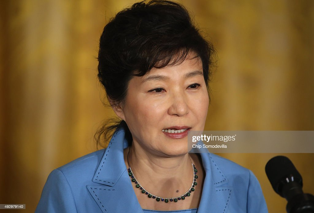 South Korean President <a gi-track='captionPersonalityLinkClicked' href=/galleries/search?phrase=Park+Geun-hye&family=editorial&specificpeople=603075 ng-click='$event.stopPropagation()'>Park Geun-hye</a> answers reporters' questions during a news conference with U.S. President Barack Obama in the East Room of the White House October 16, 2015 in Washington, DC. North Korea was high on the leaders' agenda and Park is seeking more cooperation with the U.S. and Beijing in pressuring Pyongyang to rein in its strange policies and nuclear ambitions.