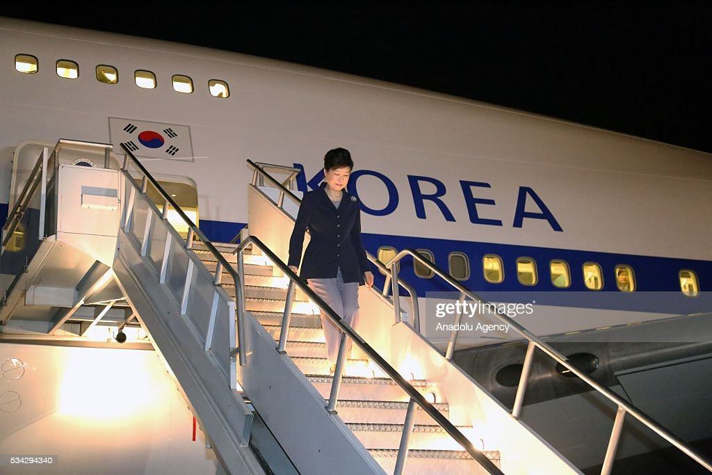 South Korean President Park Geun-Hye arrives at Addis Ababa Bole International Airport in Addis Ababa, Ethiopia on May 25, 2016.