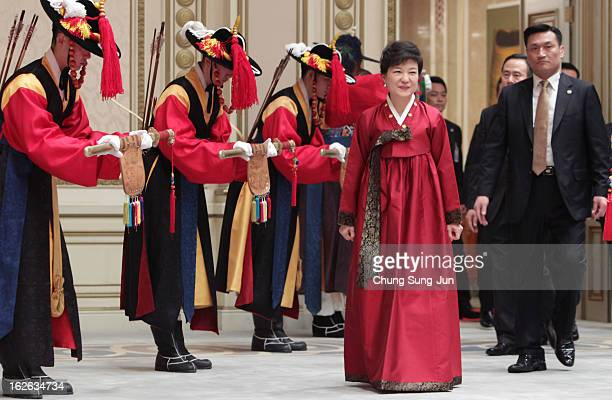 South Korean President Park GeunHye arrives during a dinner after inauguration ceremony at presidential house on February 25 2013 in Seoul South...