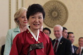 South Korean President Park GeunHye attends during a dinner after her inauguration ceremony at presidential house on February 25 2013 in Seoul South...