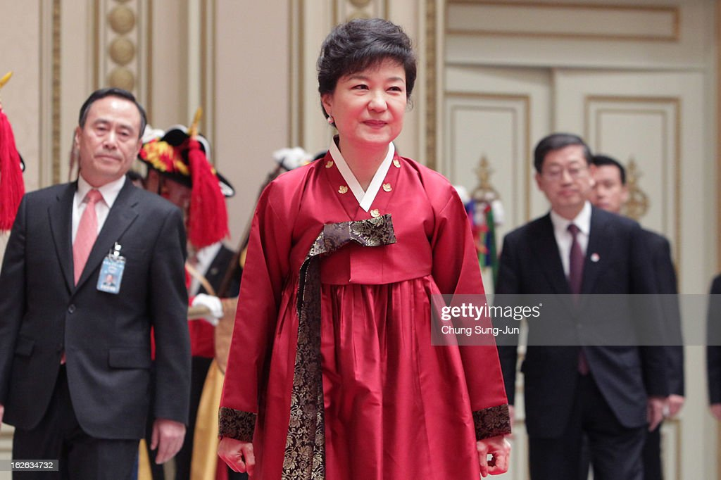 South Korean President Park Geun-Hye attends during a dinner after inauguration ceremony at presidential house on February 25, 2013 in Seoul, South Korea. Park is sworn in as the first female president of South Korea.