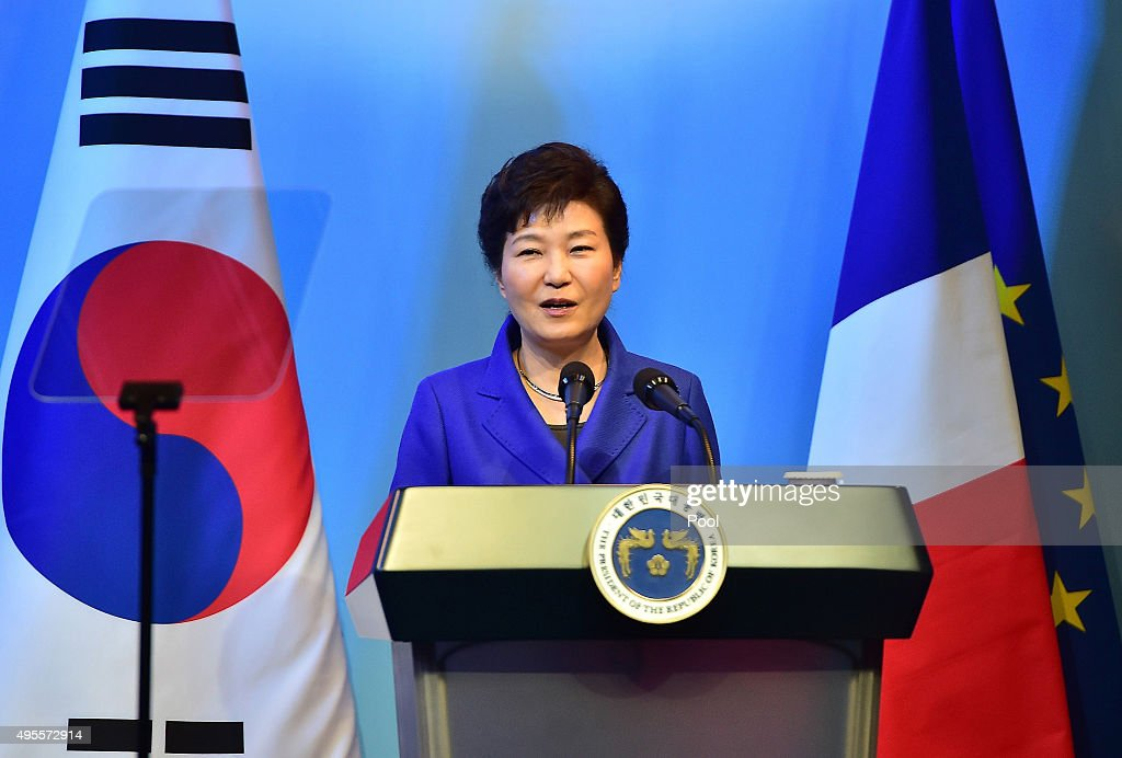 South Korean President Park Geun-Hye delivers a speech during a joint opening ceremony for South Korea-France economic and academic forums at a hotel on November 4, 2015 in Seoul, South Korea. French President Fracois Hollande is visiting Seoul for talks with South Korean President <a gi-track='captionPersonalityLinkClicked' href=/galleries/search?phrase=Park+Geun-hye&family=editorial&specificpeople=603075 ng-click='$event.stopPropagation()'>Park Geun-hye</a> on the possible projects to bolster political, economic, scientific and cultural cooperation.