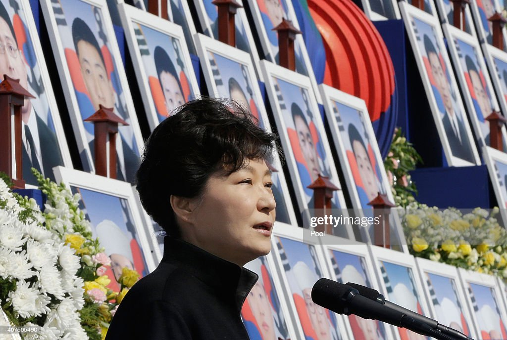South Korean President <a gi-track='captionPersonalityLinkClicked' href=/galleries/search?phrase=Park+Geun-hye&family=editorial&specificpeople=603075 ng-click='$event.stopPropagation()'>Park Geun-hye</a> delivers a speech during a ceremony to mark the fifth anniversary of the sinking of South Korean naval ship Cheonan at Daejeon National Cemetery on March 26, 2015 in Daejeon, South Korea. An explosion ripped apart the 1,200-ton warship, killing 46 sailors near the maritime border with North Korea in 2010.