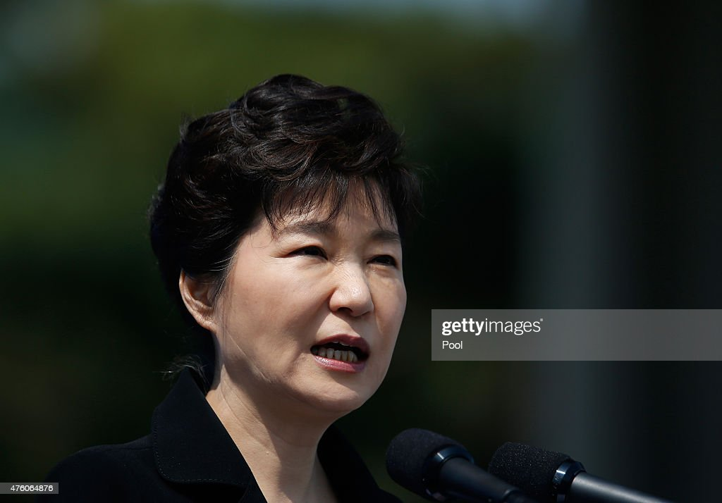 South Korean President Park Geun-Hye delivers a speech during the 60th Memorial Day on June 6, 2015 in Seoul, South Korea. The Memorial Day is to commemorate the men and women who died while in military service during the Korean War.