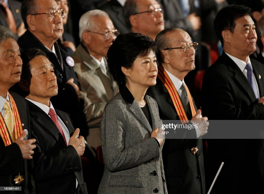 South Korean President Park Geun-hye gestures during a ceremony to celebrate the March 1 Independence Movement Day, the anniversary of the 1919 uprising against Japanese colonial rule, in Seoul on March 1, 2013. South Koreans celebrate the public holiday of remembrance to mark the 1919 civilian uprising against Japanese colonial rule from 1910-1945.