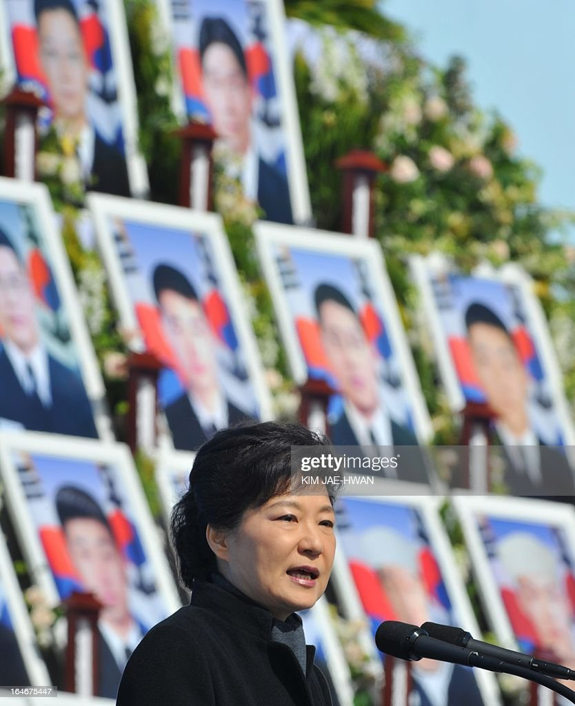South Korean President Park Geun-Hye gives a speech during the third anniversary of the sinking of a South Korean naval vessel by what Seoul insists was a North Korean submarine, at the national cemetery in the central city of Daejeon on March 26, 2013. Forty-six sailors died when the Cheonan corvette sunk. AFP PHOTO / POOL / KIM JAE-HWAN