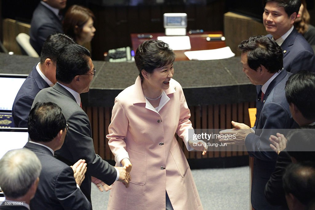South Korean President Park Geun-Hye is congratulated after speaking at the opening ceremony of the 20th National Assembly on June 10, 2016 in Seoul, South Korea.