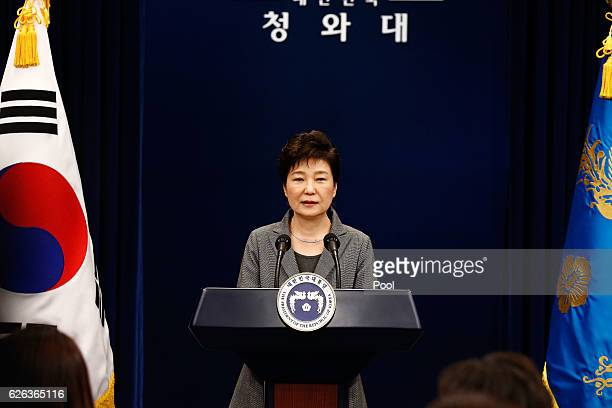 South Korean President Park GeunHye makes a speech during an address to the nation at the presidential Blue House in Seoul on November 29 2016 South...