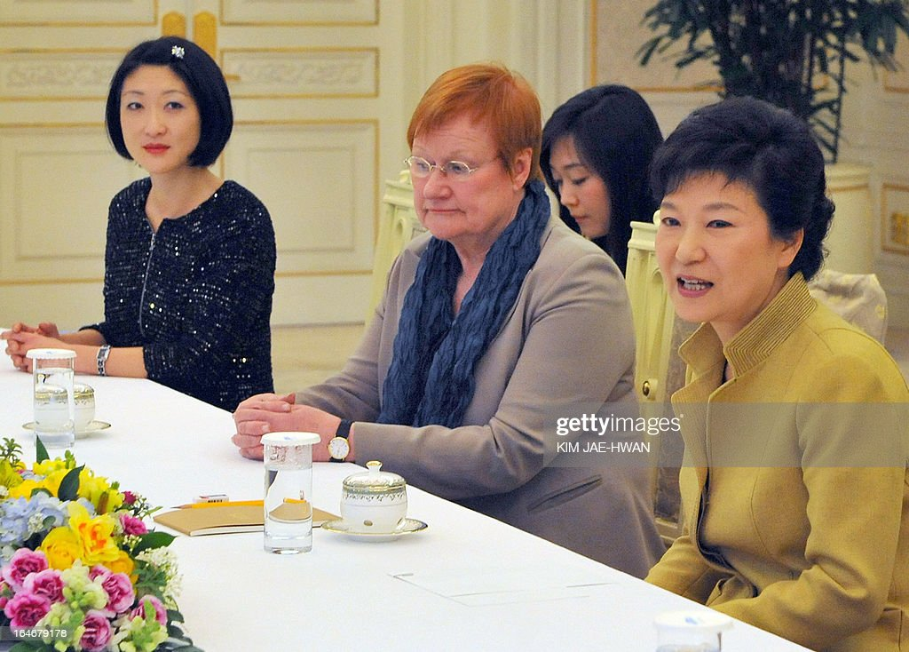 South Korean President Park Geun-Hye (R) meets with French Minister Fleur Pellerin (L) and former Finland president Tarja Halonen (C) at the president's office on March 26, 2013. Pellerin, the junior minister for small and medium enterprises, innovation, and the digital economy, is on a working visit to South Korea, the land of her birth, where her unusual success story is a source of public pride, admiration and curiosity.