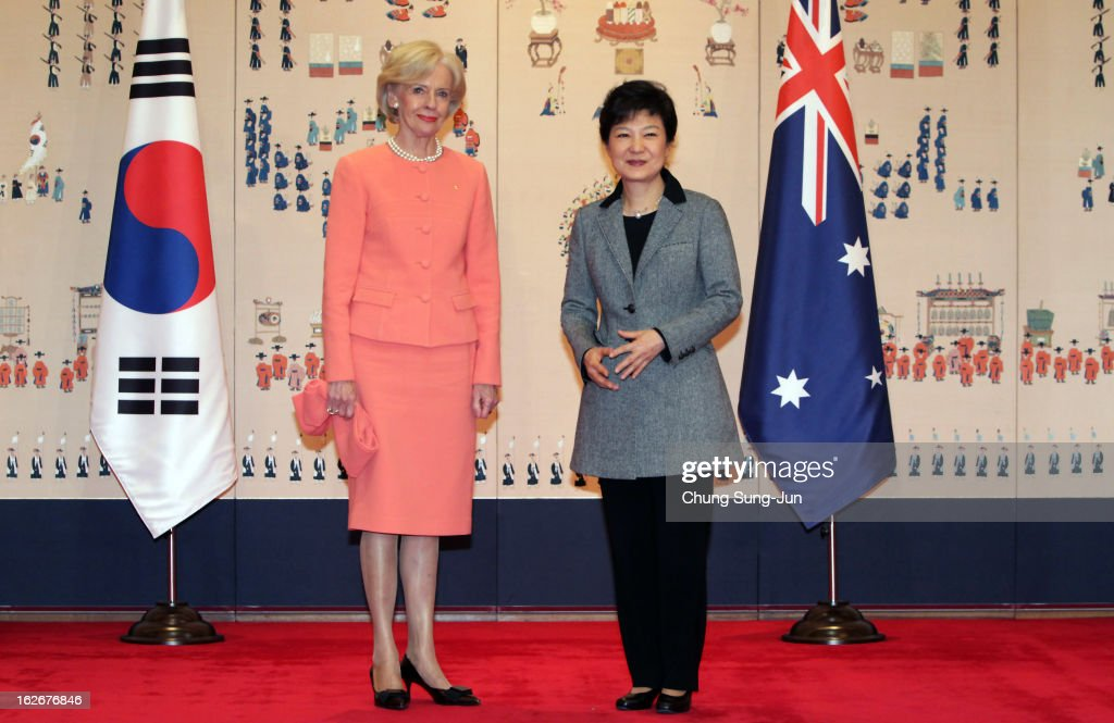 South Korean President Park Geun-Hye poses with Australian Governor-General <a gi-track='captionPersonalityLinkClicked' href=/galleries/search?phrase=Quentin+Bryce&family=editorial&specificpeople=2602196 ng-click='$event.stopPropagation()'>Quentin Bryce</a> during their meeting at presidential house on February 26, 2013 in Seoul, South Korea. Park Geun-Hye, daughter of former president Park Chung-Hee, the first female president of South Korea. Park engaged in a flurry of diplomacy on her second day in office, holding meetings with World leaders.