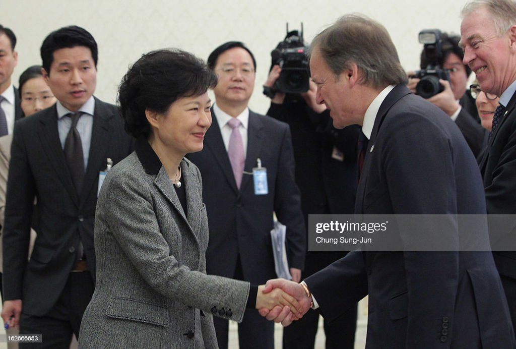 South Korean President Park Geun-Hye shakes hands with Hugo Swire, Minister of State at the Foreign and Commonwealth Office of Great Britain during their meeting at presidential house on February 26, 2013 in Seoul, South Korea. Park Geun-Hye, daughter of former president Park Chung-Hee, the first female president of South Korea. Park engaged in a flurry of diplomacy on her second day in office, holding meetings with World leaders.