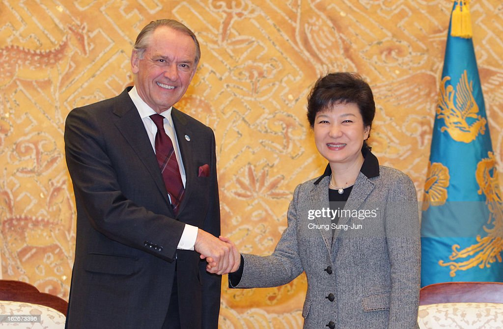 South Korean President Park Geun-Hye shakes hands with <a gi-track='captionPersonalityLinkClicked' href=/galleries/search?phrase=Jan+Eliasson&family=editorial&specificpeople=563205 ng-click='$event.stopPropagation()'>Jan Eliasson</a>, UN Deputy Secretary General, during their meeting at presidential house on February 26, 2013 in Seoul, South Korea. Park Geun-Hye, daughter of former president Park Chung-Hee, is the first female president of South Korea. Park engaged in a flurry of diplomacy on her second day in office, holding meetings with World leaders.