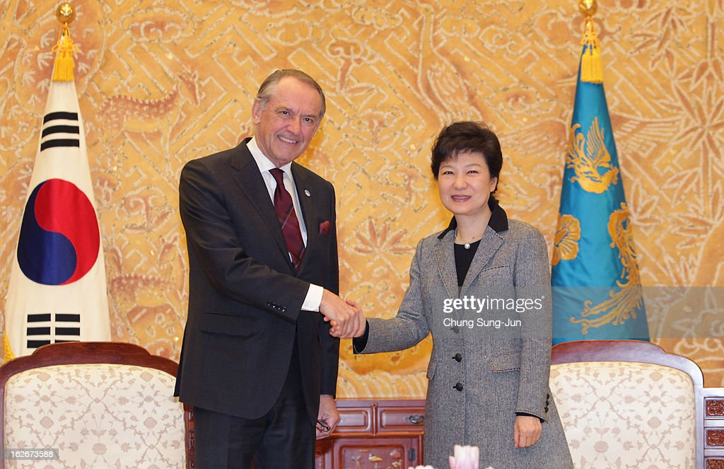South Korean President Park Geun-Hye shakes hands with Jan Eliasson, UN Deputy Secretary General during their meeting at presidential house on February 26, 2013 in Seoul, South Korea. Park Geun-Hye, daughter of former president Park Chung-Hee, the first female president of South Korea. Park engaged in a flurry of diplomacy on her second day in office, holding meetings with World leaders.