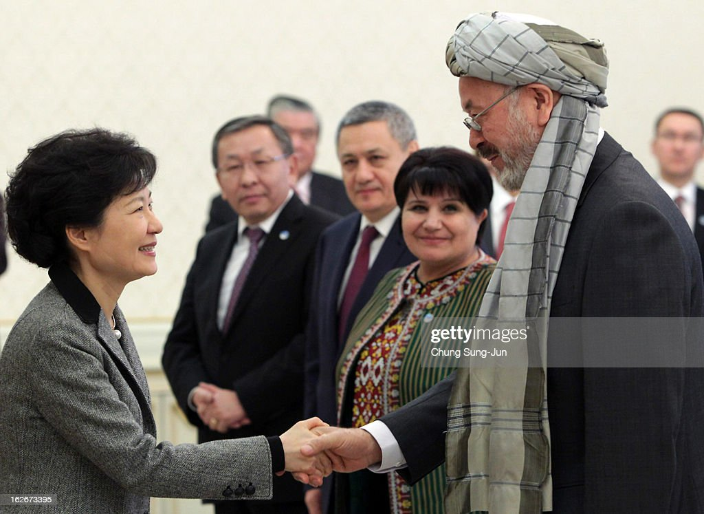 South Korean President Park Geun-Hye shakes hands with Karim Khalili, Vice President of Afghanistan, during their meeting at presidential house on February 26, 2013 in Seoul, South Korea. Park Geun-Hye, daughter of former president Park Chung-Hee, is the first female president of South Korea. Park engaged in a flurry of diplomacy on her second day in office, holding meetings with World leaders.