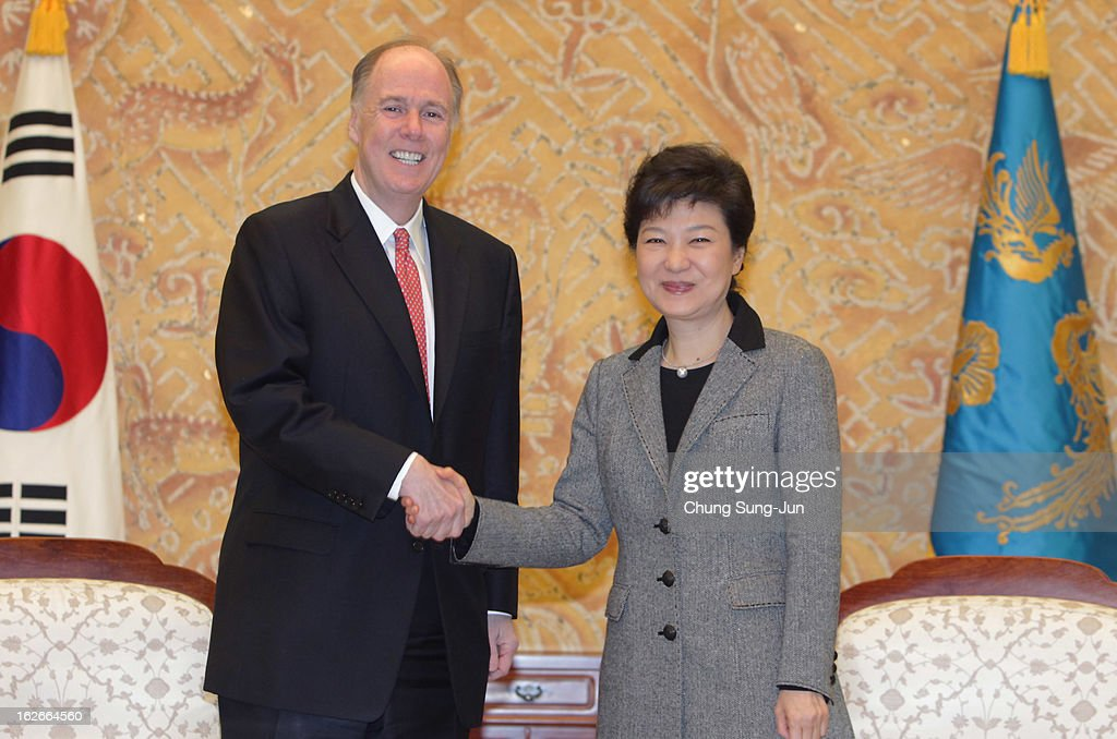 South Korean President Park Geun-Hye shakes hands with Thomas Donilon, National Security advisor of United States during their meeting at presidential house on February 26, 2013 in Seoul, South Korea. Park Geun-Hye, daughter of former president Park Chung-Hee, is the first female president of South Korea. Park engaged in a flurry of diplomacy on her second day in office, holding meetings with World leaders.