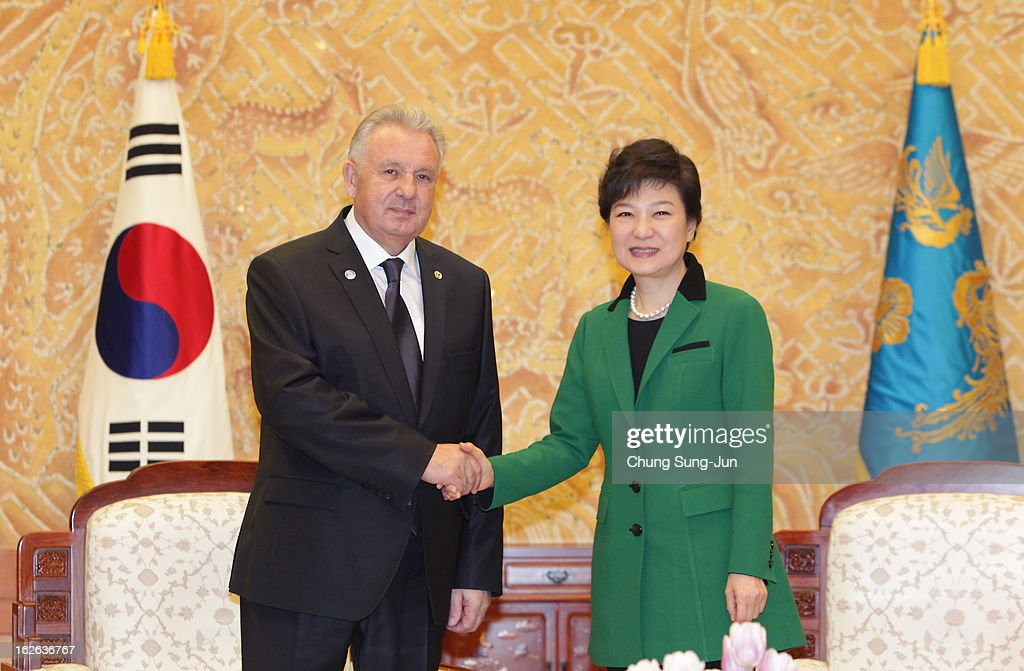 South Korean President Park Geun-Hye (R) shakes hands with Victor Ivanovich Ishaev, Minister of Russia Federation for Far East development, after her inauguration ceremony at presidential house on February 25, 2013 in Seoul, South Korea. Park, the daughter of former Republic of Korea Army general and dictator from 1961 to 1979 Park Chung-hee, was today sworn in as the first female president of South Korea.
