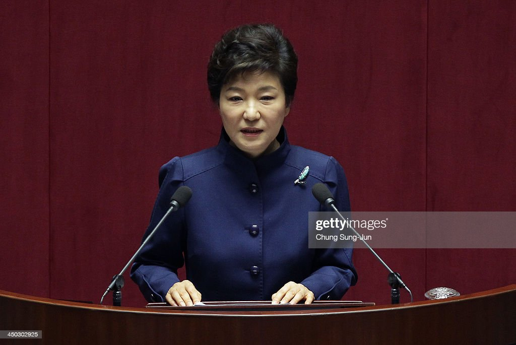 South Korean President Park Geun-Hye speaks at the National Assembly on November 18, 2013 in Seoul, South Korea. President Park Geun-Hye today announced that she would 'respect and accept' her rival parties agreement after the allegations that state agencies attempted to tamper with last year's presidential race.