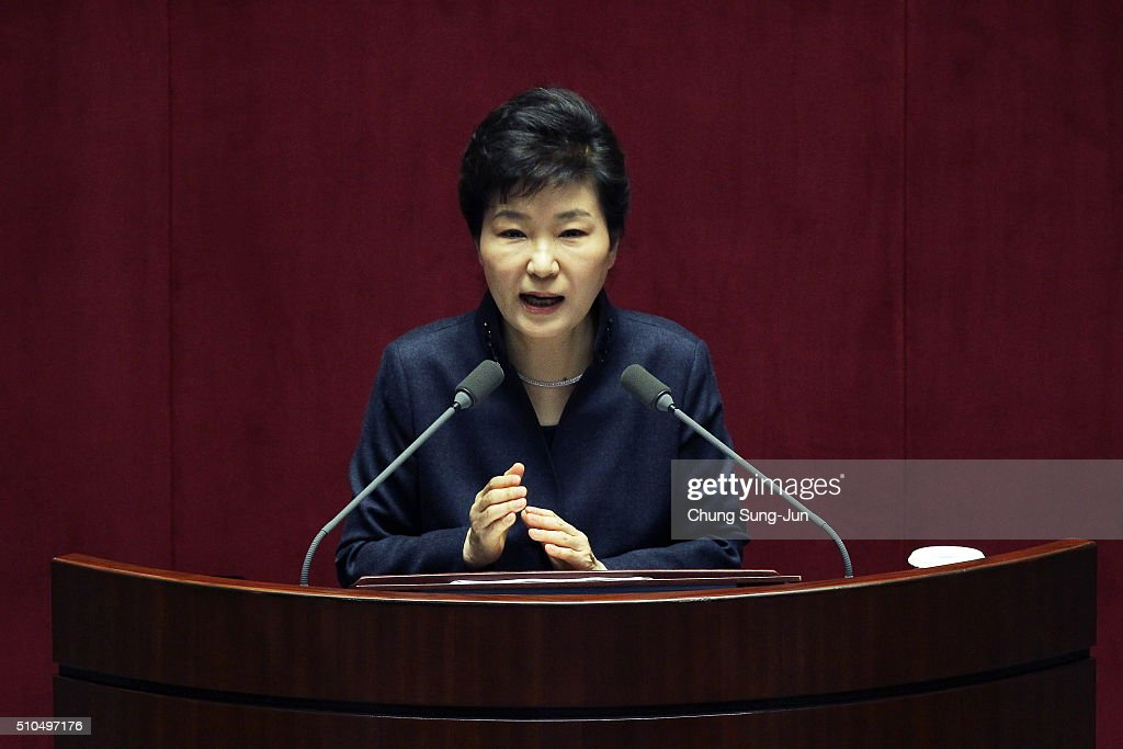 South Korean President Park Geun-Hye speaks at the National Assembly on February 17, 2016 in Seoul, South Korea. Park called for the parliament's cooperation to overcome the crisis that has arisen from North Korea's recent nuclear test and the rocket launch.