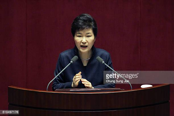 South Korean President Park GeunHye speaks at the National Assembly on February 17 2016 in Seoul South Korea Park called for the parliament's...