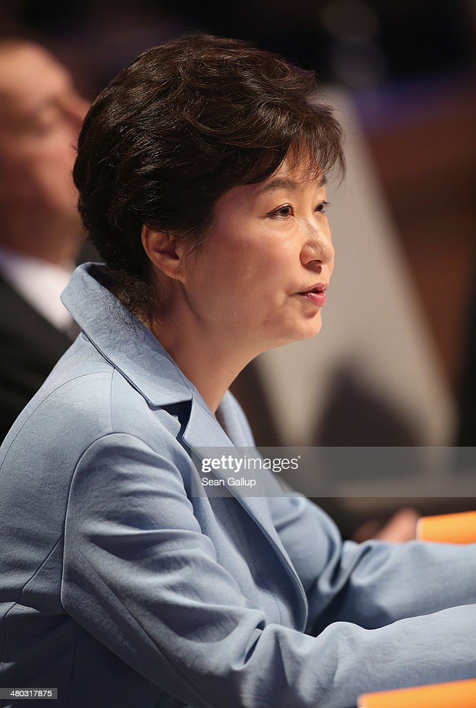 South Korean President Park Geun-hye speaks at the opening plenary session of the 2014 Nuclear Security Summit on March 24, 2014 in The Hague, Netherlands. Leaders from around the world have come to discuss matters related to international nuclear security, though the summit is overshadowed by recent events in Ukraine. The leaders of the G7 nations will hold a short G7 summit tonight.