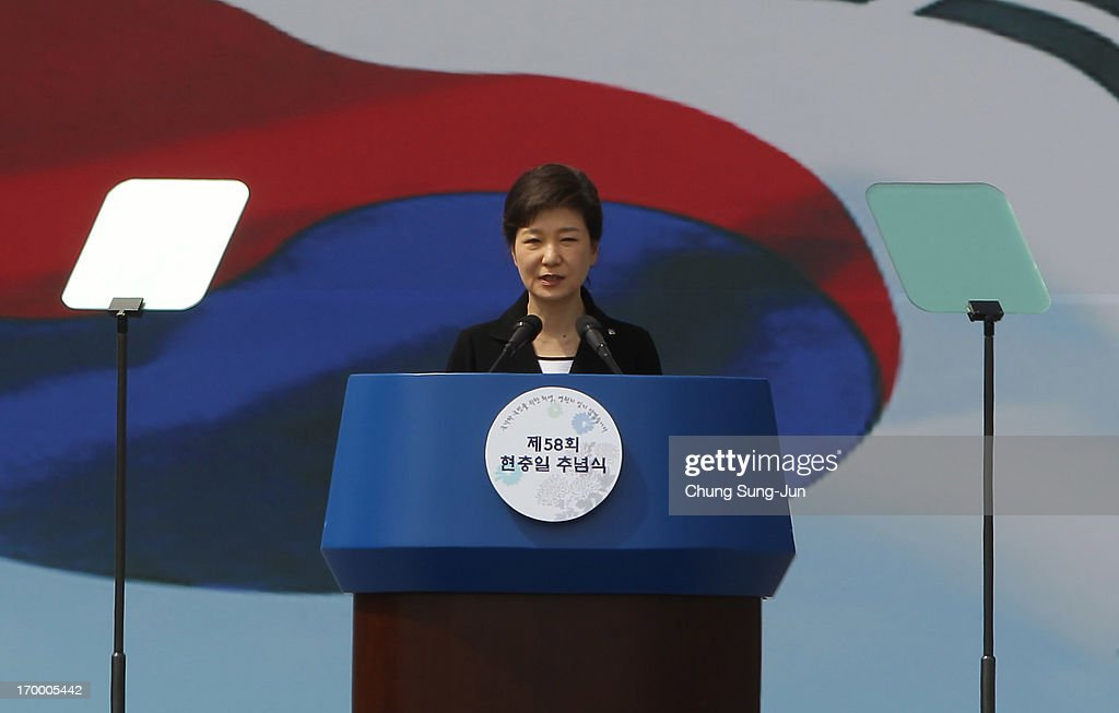 South Korean President Park Geun-Hye speaks during a ceremony marking Korean Memorial Day at the Seoul National Cemetery on June 6, 2013 in Seoul, South Korea. South Korea today marks the 58th anniversary of the Memorial Day for those killed in the 1950-53 Korean War.