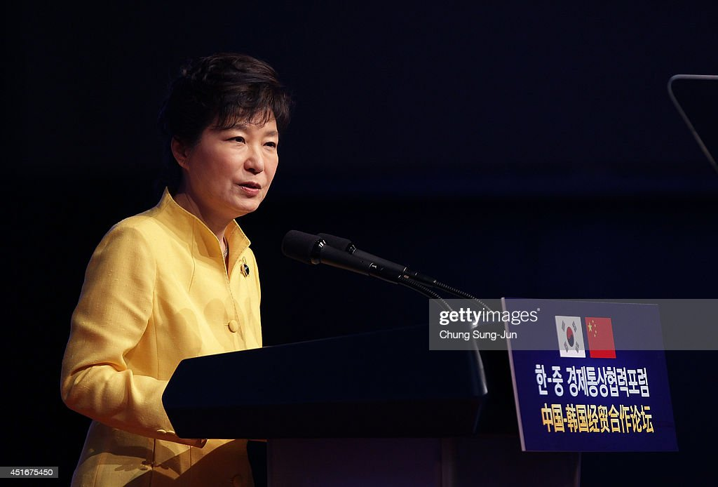 South Korean President Park Geun-Hye speaks during a Korea-China Investment Forum at Shilla Hotel on July 4, 2014 in Seoul, South Korea. President Xi Jinping is visiting Seoul before Pyongyang during his first trip to Korean Peninsula as Chinese President.