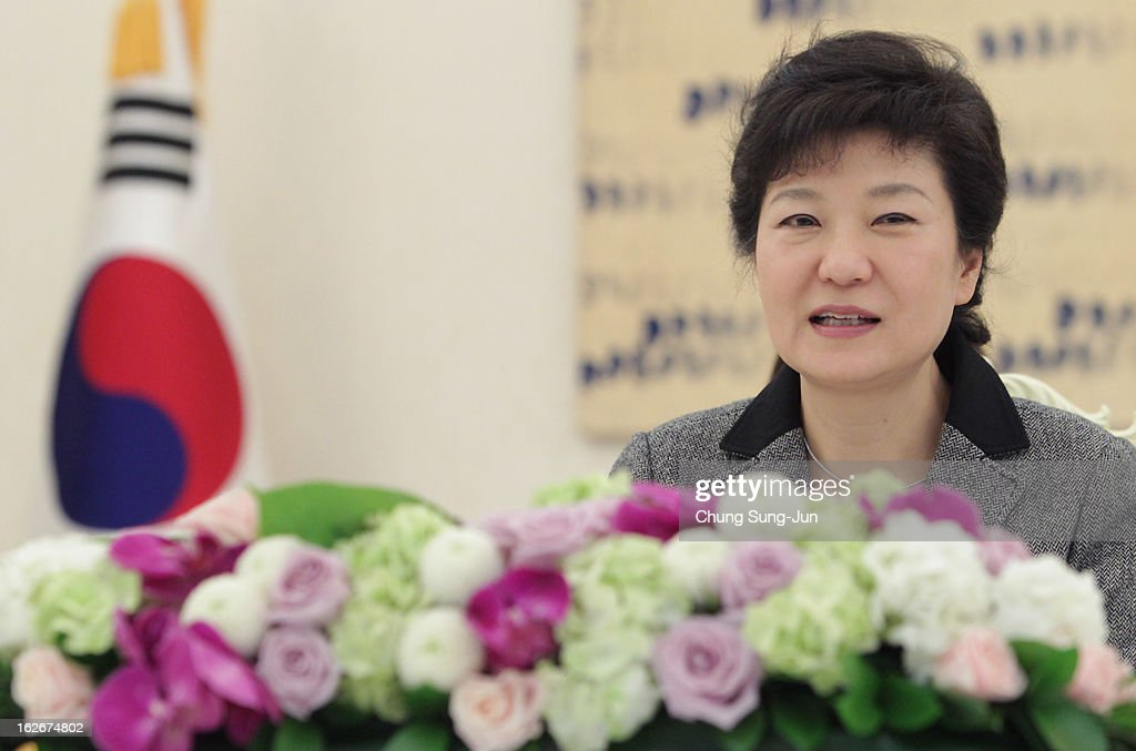 South Korean President Park Geun-Hye speaks during a meeting with guests at presidential house on February 26, 2013 in Seoul, South Korea. Park Geun-Hye, daughter of former president Park Chung-Hee, the first female president of South Korea. Park engaged in a flurry of diplomacy on her second day in office, holding meetings with World leaders.
