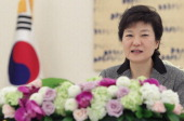 South Korean President Park GeunHye speaks during a meeting with guests at presidential house on February 26 2013 in Seoul South Korea Park GeunHye...