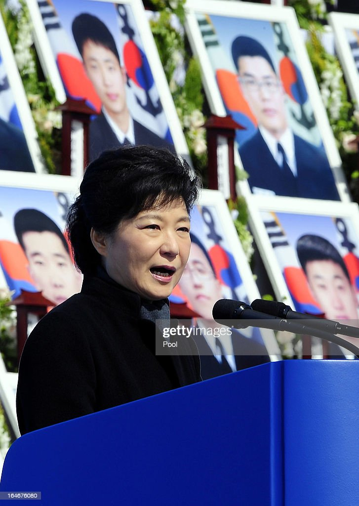 South Korean President Park Geun-Hye speaks during a memorial ceremony to commemorate the victims of Cheonan warship sinking at the National Ceremtery on March 26, 2013 in Daejeon, South Korea. The warship exploded and sank, later found the fact that North Korea torpedoed, though Pyongyang denied, killed 46 sailors.