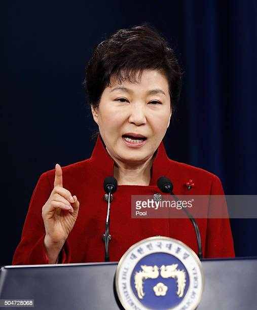 South Korean President Park GeunHye speaks during a New Year's news conference at Presidential House on January 13 2016 in Seoul South Korea...