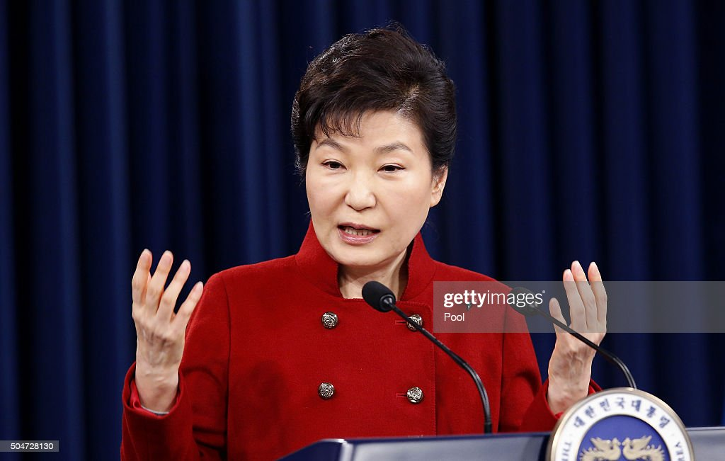 South Korean President Park Geun-Hye speaks during a New Year's news conference at Presidential House on January 13, 2016 in Seoul, South Korea. President <a gi-track='captionPersonalityLinkClicked' href=/galleries/search?phrase=Park+Geun-hye&family=editorial&specificpeople=603075 ng-click='$event.stopPropagation()'>Park Geun-hye</a> pledged to make diplomatic efforts so that the U.N. Security Council can adopt a resolution to press the strongest sanctions on North Korea.