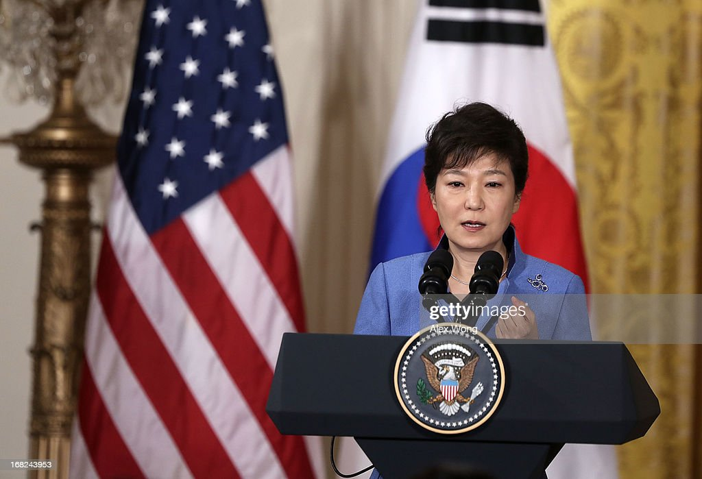 South Korean President Park Geun-hye speaks during a news conference with U.S. President Barack Obama at the East Room of the White House May 7, 2013 in Washington, DC. President Park is on a visit in Washington to hold talks with the Obama Administration on the crisis with North Korea.
