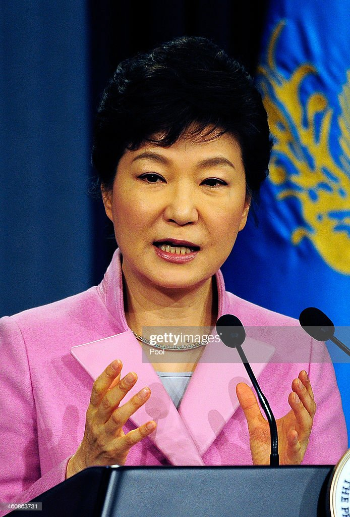 South Korean President Park Geun-Hye speaks during a press conference at the Presidential Office on January 6, 2014 in Seoul, South Korea. Park outlined her policy plans for the new year.
