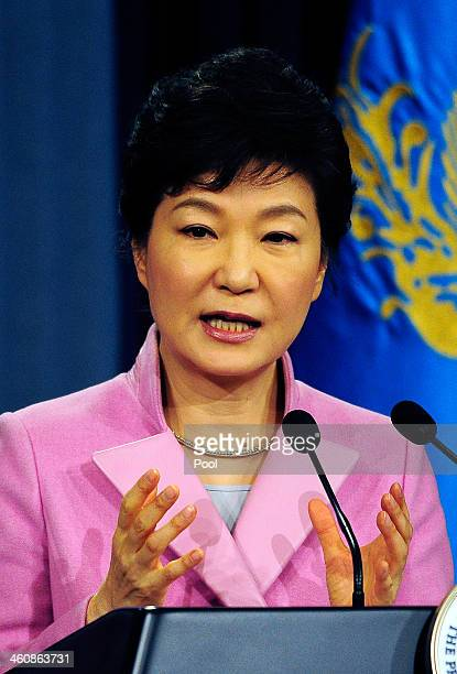 South Korean President Park GeunHye speaks during a press conference at the Presidential Office on January 6 2014 in Seoul South Korea Park outlined...