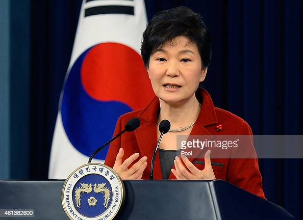 South Korean President Park GeunHye speaks during a press conference at the Presidential Office on January 12 2015 in Seoul South Korea Park outlined...
