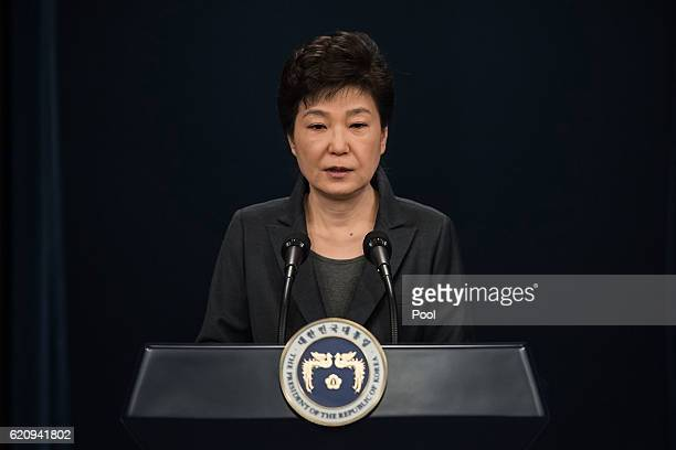 South Korean President Park GeunHye speaks during an address to the nation at the presidential Blue House on November 4 2016 in Seoul South Korea