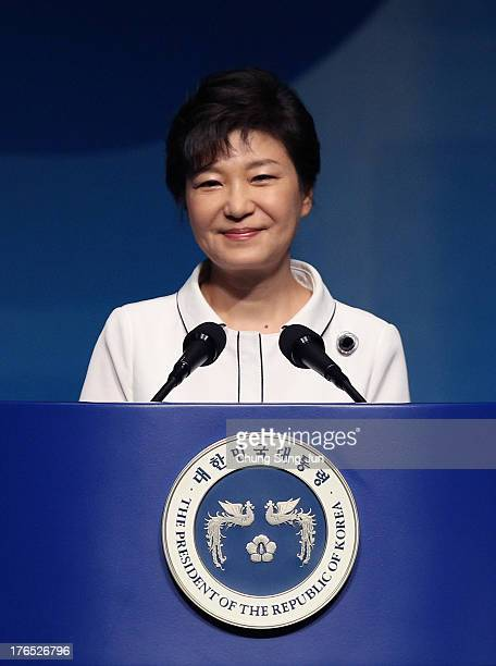 South Korean President Park GeunHye speaks during the 68th Independence Day ceremony at Sejong Art Center on August 15 2013 in Seoul South Korea...