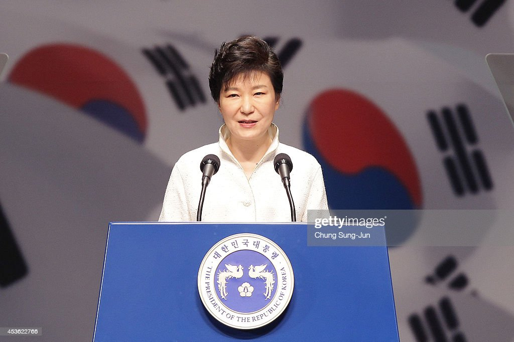 South Korean President Park Geun-Hye speaks during the 69th Independence Day ceremony at Sejong Art Center on August 15, 2014 in Seoul, South Korea. Korea was liberated from Japan's 35-year colonial rule in 1945.