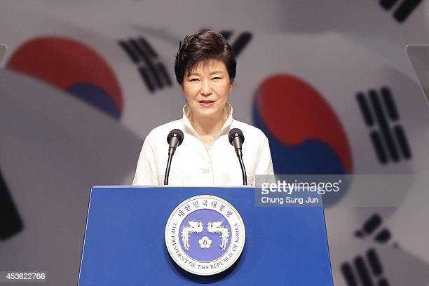 South Korean President Park GeunHye speaks during the 69th Independence Day ceremony at Sejong Art Center on August 15 2014 in Seoul South Korea...