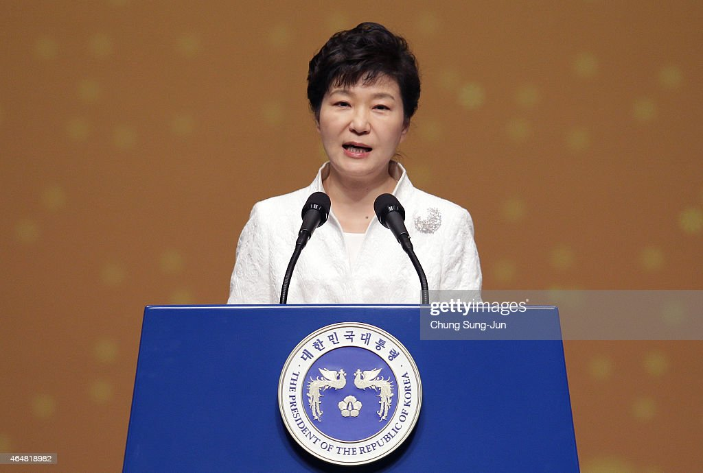 South Korean President Park Geun-Hye speaks during the 96th Independence Movement Day ceremony at Sejong Art Center on March 1, 2015 in Seoul, South Korea. South Koreans celebrate the public holiday marking the 1919 civilian uprising against Japanese rule, which colonized the Korean peninsula from 1910-1945.