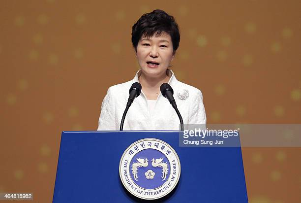 South Korean President Park GeunHye speaks during the 96th Independence Movement Day ceremony at Sejong Art Center on March 1 2015 in Seoul South...