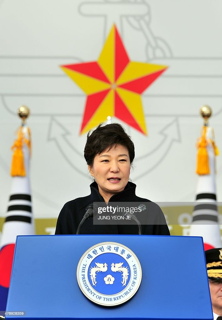 South Korean President Park Geun-Hye speaks during the joint commission ceremony of 5,860 new military officers of the army, navy, air force and marines at the military headquarters in Gyeryong, south of Seoul, on March 6, 2014. Park urged North Korea to give up its nuclear program, saying denuclearization will pave the way for greater economic cooperation and ultimately unification between the two divided states.