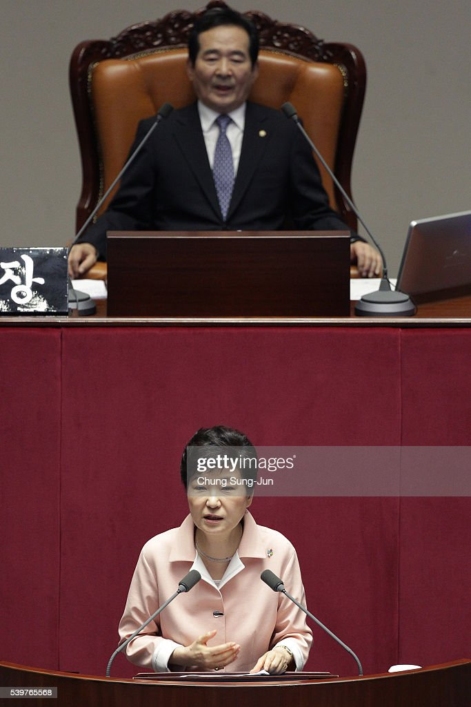 South Korean President Park Geun-Hye speaks during the opening ceremony of the 20th National Assembly on June 10, 2016 in Seoul, South Korea.