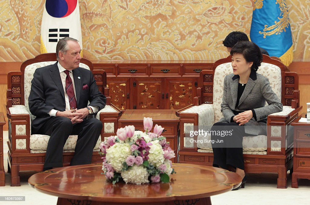 South Korean President Park Geun-Hye talks hands with Jan Eliasson, UN Deputy Secretary General, during their meeting at presidential house on February 26, 2013 in Seoul, South Korea. Park Geun-Hye, daughter of former president Park Chung-Hee, is the first female president of South Korea. Park engaged in a flurry of diplomacy on her second day in office, holding meetings with World leaders.