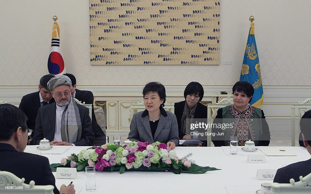 South Korean President Park Geun-Hye (C) talks with Akdja Nurberdiyeva (R) Turkmen Speaker of Parliament of Turkmenistan and Karim Khalili (L) Vice President of Afghanistan during their meeting at presidential house on February 26, 2013 in Seoul, South Korea. Park Geun-Hye, daughter of former president Park Chung-Hee, the first female president of South Korea. Park engaged in a flurry of diplomacy on her second day in office, holding meetings with World leaders.