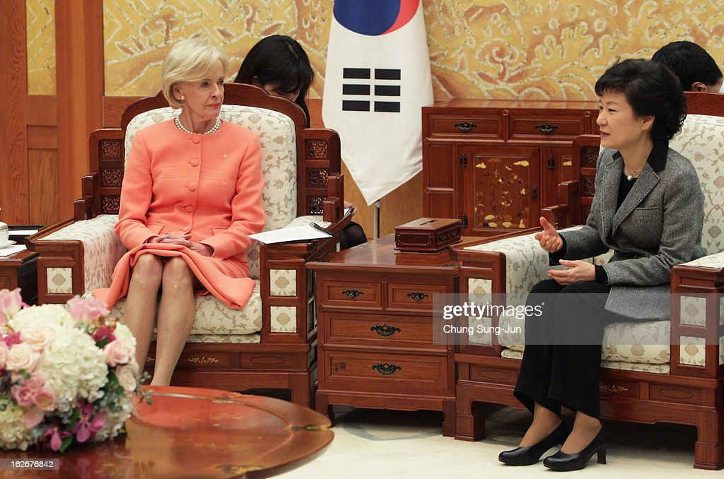 South Korean President Park Geun-Hye talks with Australian Governor-General <a gi-track='captionPersonalityLinkClicked' href=/galleries/search?phrase=Quentin+Bryce&family=editorial&specificpeople=2602196 ng-click='$event.stopPropagation()'>Quentin Bryce</a> during their meeting at presidential house on February 26, 2013 in Seoul, South Korea. Park Geun-Hye, daughter of former president Park Chung-Hee, the first female president of South Korea. Park engaged in a flurry of diplomacy on her second day in office, holding meetings with World leaders.