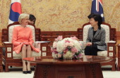 South Korean President Park GeunHye talks with Australian GovernorGeneral Quentin Bryce during their meeting at presidential house on February 26...