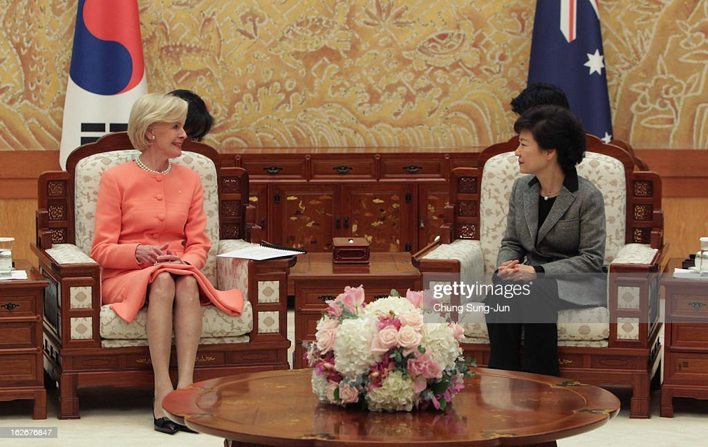 South Korean President Park Geun-Hye talks with Australian Governor-General Quentin Bryce during their meeting at presidential house on February 26, 2013 in Seoul, South Korea. Park Geun-Hye, daughter of former president Park Chung-Hee, the first female president of South Korea. Park engaged in a flurry of diplomacy on her second day in office, holding meetings with World leaders.